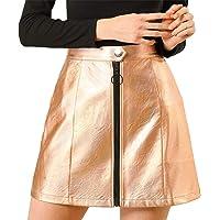 Allegra K Women's Casual A-Line Metallic Zipper Front High Waist Short Mini Holographic Skirt