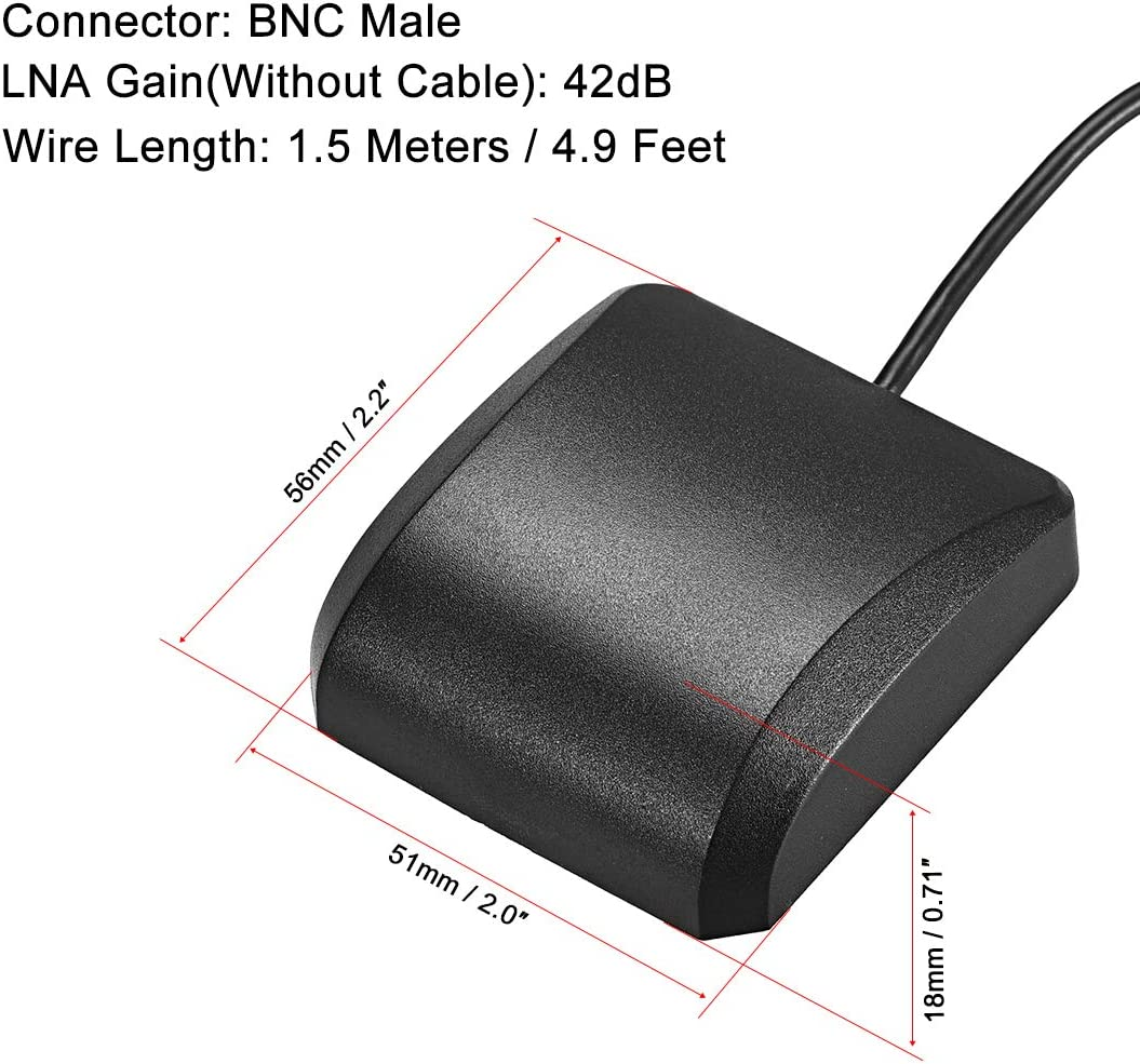 uxcell GPS Active Antenna Compatible with Beidou BNC Male Plug 42dB Aerial Connector Cable with Magnetic Mount 1.5 Meters Wire