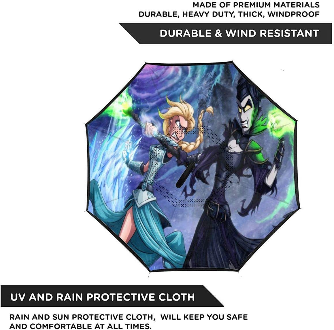 Anime Maleficent Car Reverse Umbrella With C-Shaped Handle UV Protection Inverted Folding Umbrellas Windproof And Rainproof Double Folding Inverted Umbrella
