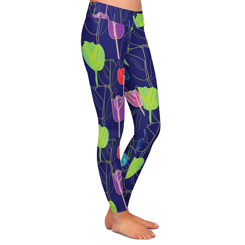 Tulips Navy Multi Athletic Yoga Leggings from DiaNoche Designs by Yasmin Dadabhoy