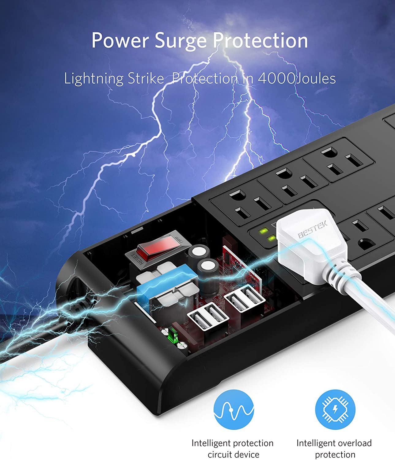 BESTEK 4,000 Joules Surge Protector with USB,6 Feet Extension Cord Power Strip with 8 AC Outlets 15A 1875W,5V 4.2A 4 USB Charging Ports Desktop Charging Station,Wide Spaced Outlet for Large Plug,Black