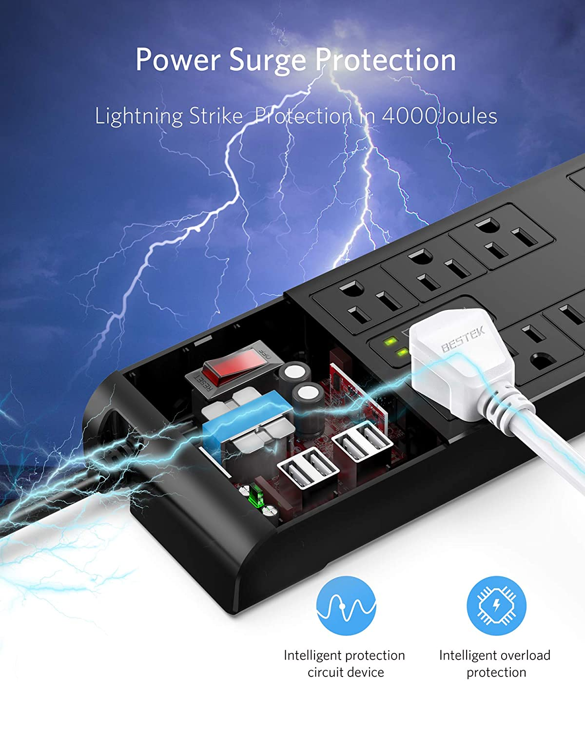 BESTEK 4000 Joules Surge Protector with USB6 Feet Extension Cord Power Strip with 8 AC Outlets 15A