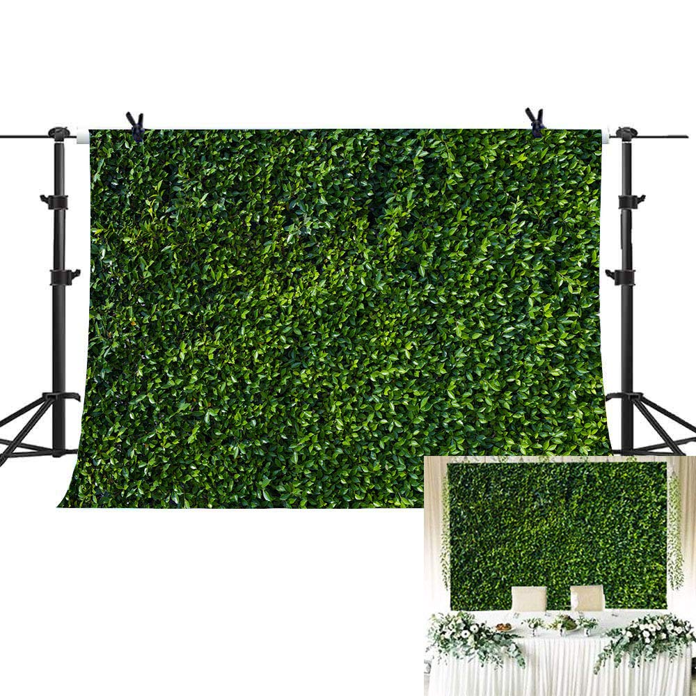 Green Leaves Grass Wall Backdrop for Photography Studio Spring Safari Party Decorations Outdoorsy Wedding Bridal Shower Photo Background Baby Show Kids Birthday Banner Supplies Vinyl 5x3ft Cake Table