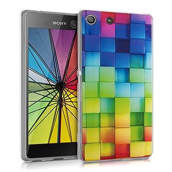 kwmobile Funda para Sony Xperia M5 - Carcasa de [TPU] para móvil y diseño de Cubos de Colores Verde/Azul