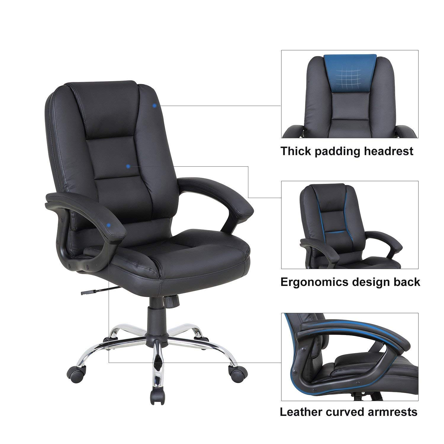 LCH PU Leather Office Chair Swivel Executive Chair with Tilt Function and Thick Seat, Ergonomic Computer Chair Headrest and Lumbar Support (Black) by LCH (Image #3)