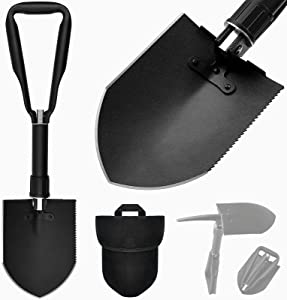 iunio Full Size Military Shovel with Pickaxe, 23.6 Inch Folding Entrenching Tool, Foldable E-Tool, Collapsible Portable Camping Spade, for Backpacking, Trenching, Survival, Car Emergency