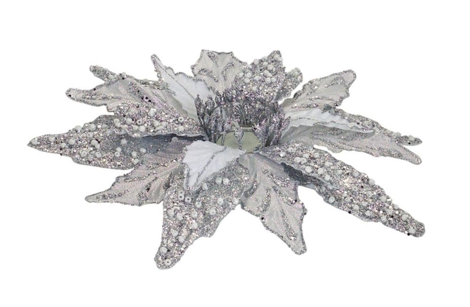 Diva At Home Set of 6 Silver Glittered Christmas Poinsettia Votive Candle Holders 12''