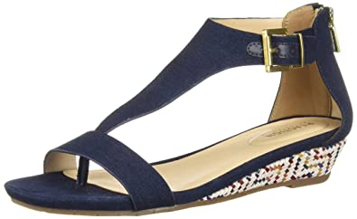 86c7757530c Image Unavailable. Image not available for. Color  Kenneth Cole REACTION  Women s Great Gal T-Strap Low Wedge Sandal ...