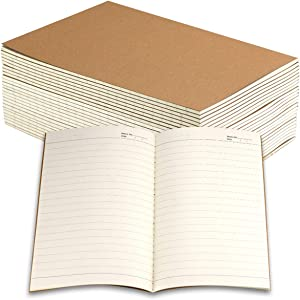 Owevvin 24 Pack Journal Notebook with Lined Paper, Brown Kraft Cover Writing Diary Subject Notebooks for Travelers, School and Office, A5 Size, 8.3x5.5 inch. 60 Lined Pages, 30 Sheets