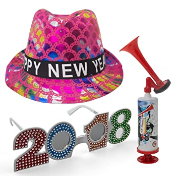 New Years Eve Decorations - Happy New Year Fedora Pink   Multi Color Design  Sequin Flashing e0e1cc202efe
