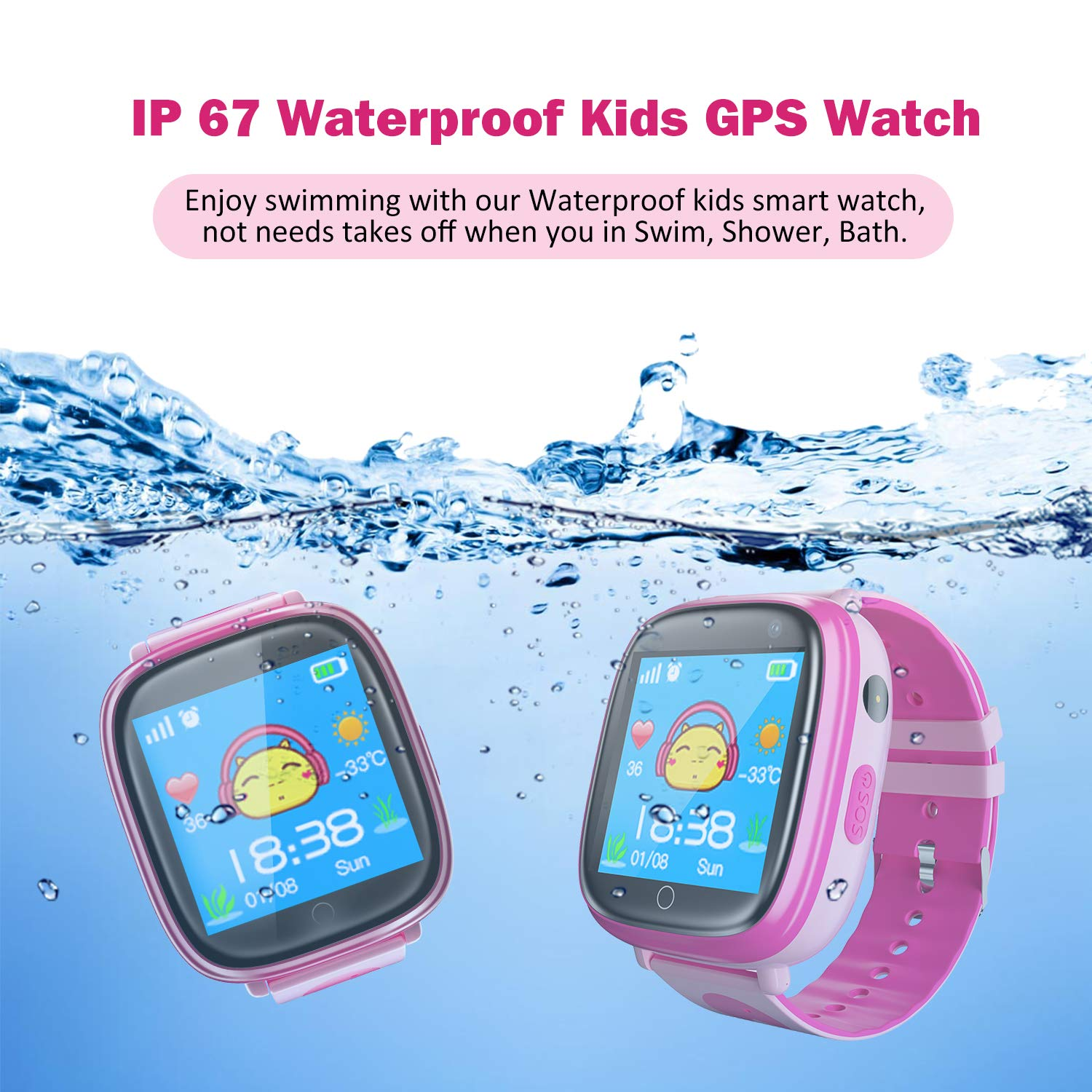 Amazon.com: Kids Waterproof Smart Watches Phone, SZBXD GPS Tracker Touchscreen Sports Smartwatch Games Flashlight SOS Alarm Clock Camera Smart Wrist Watch ...