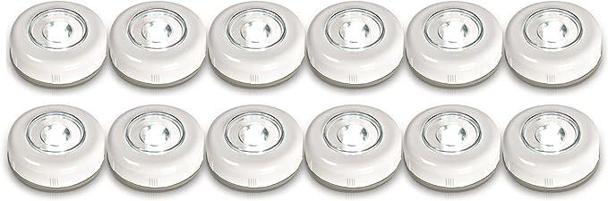 Easymaxx Led Spots Set Van 12 Wit Spot Draadloos Zonder Boren Werkt Op Batterijen Push Amazon Nl