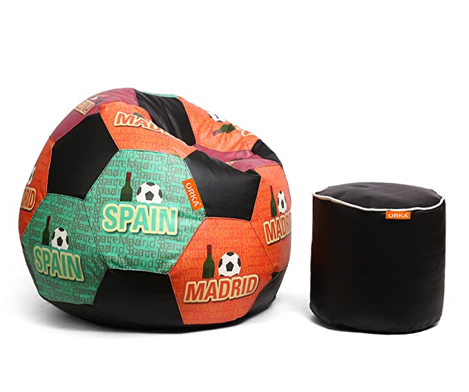 ORKA XXXL Digital Printed Football Bean Bag & Pouffe Filled