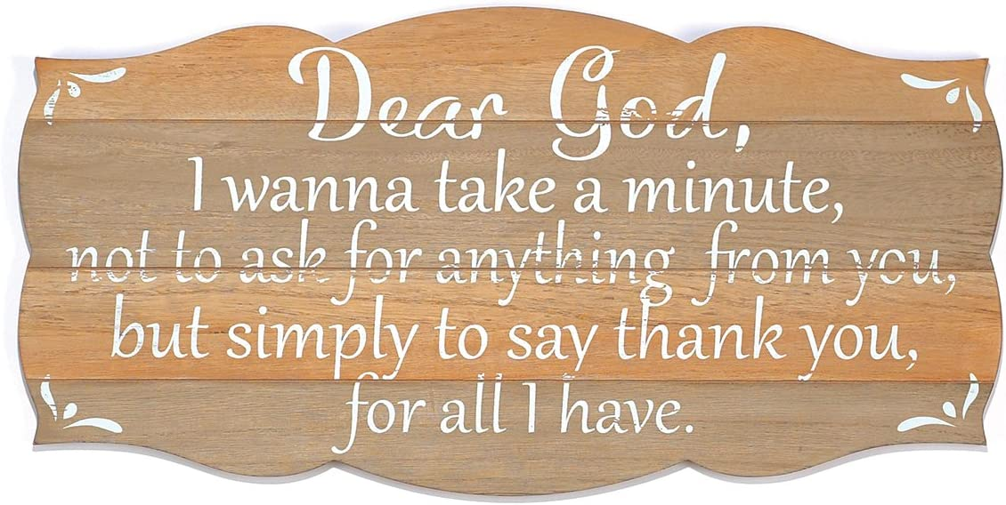 Dicksons Dear God Simply Thank You 24 x 12 inch Natural Wood Wall Plaque