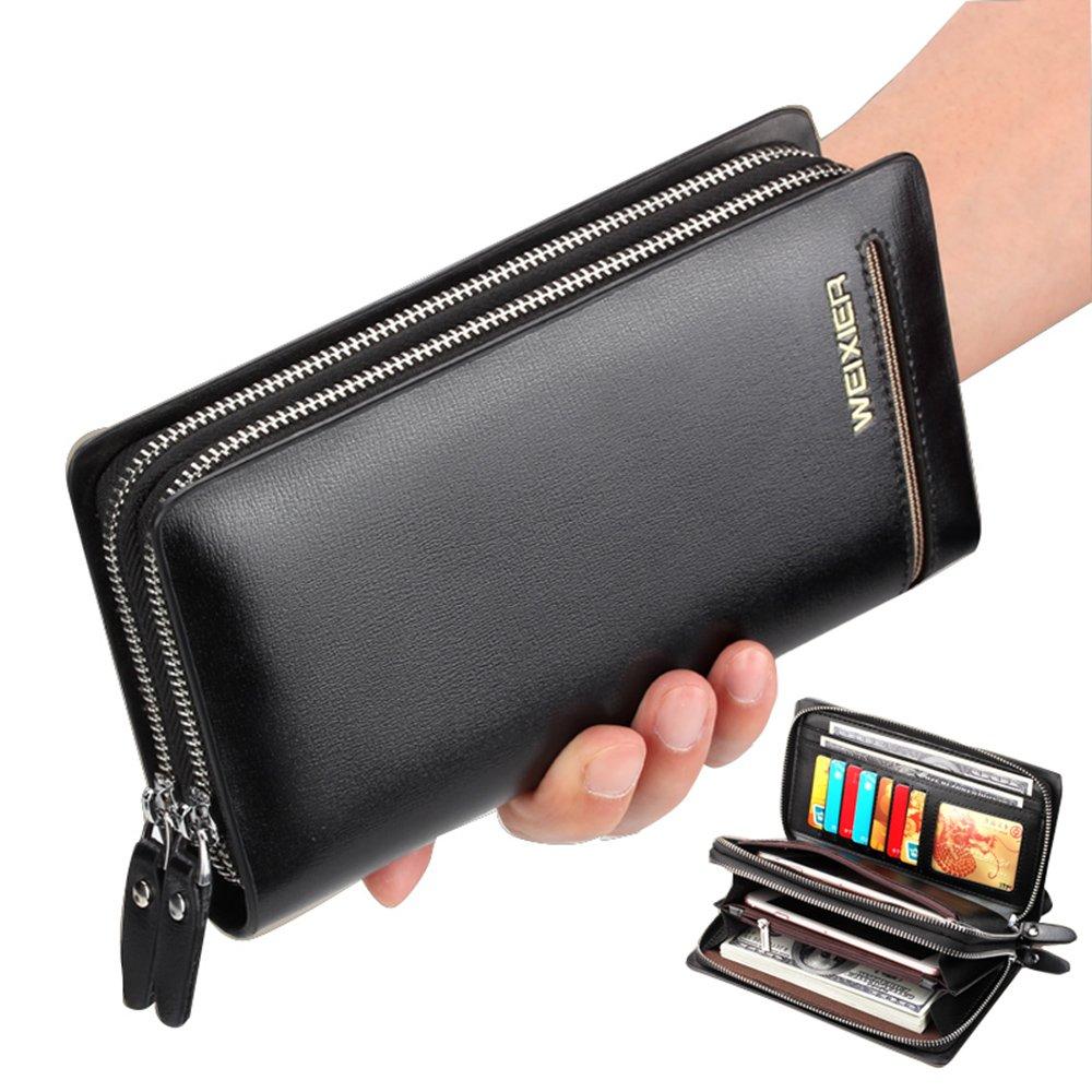 Men's Clutch Bag Handbag Long Wallet Business Organizer Checkbook PU Leather Purse Sllybo (Style 11-Black)