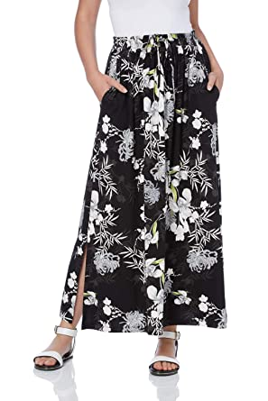be3b8e78c Roman Originals Women Floral Print Jersey Maxi Skirt - Ladies Split Hem  Stretch A-Line Flared Straight Daytime Holiday Casual Skirts: Amazon.co.uk:  Clothing