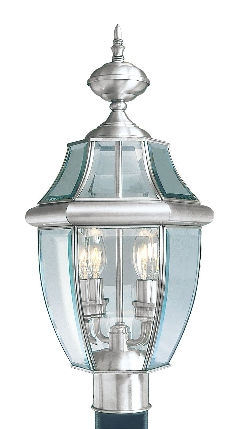 Livex Lighting 2254-91 Monterey 2 Light Outdoor Brushed Nickel Finish Solid Brass Post Head with Clear Beveled Glass