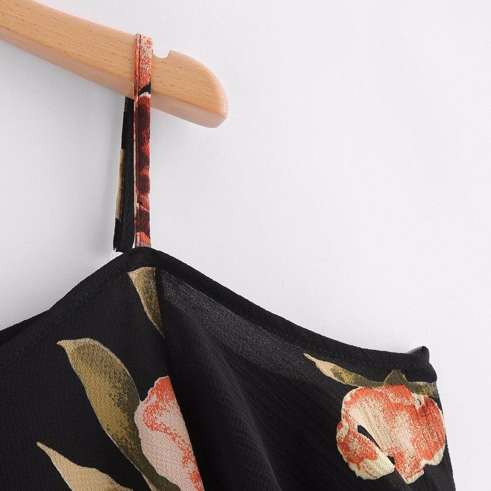 HIKO23 Women Summer T-Shirt Spaghetti Strap Floral Print Tee Shirt V-Neck Cold Shoulder Blouse Loose Cute Tops