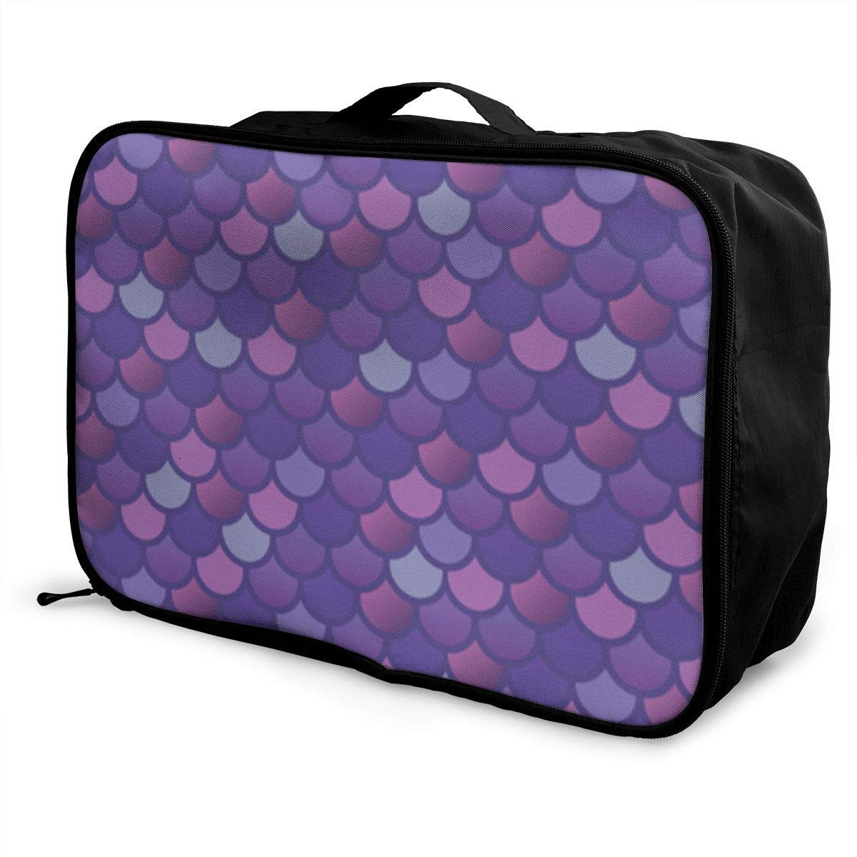 Portable Luggage Duffel Bag Mermaid Fish Scale Purple Pink Travel Bags Carry-on In Trolley Handle