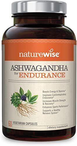NatureWise Ashwagandha for Endurance, Adaptogen Adrenal Support Supplement with Organic KSM-66 Ashwagandha, Vitamins, Ginseng, and Green Tea Extract Packaging May Vary 1 Month Supply 60 Capsules