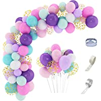 168 Pcs Unicorn Party Balloon Arch Garland Kit 12'' 10'' 5'' Confetti White Light Purple Pink Aqua Blue Latex Balloons Set for Wedding Baby Shower Unicorn Birthday Party Supplies Decorations with 3 Pcs Balloon Tools