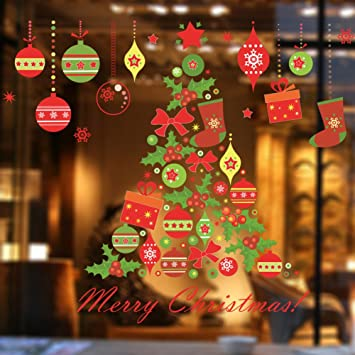 christmas tree shop window clings removable home decor window stickers for christmas happy new year