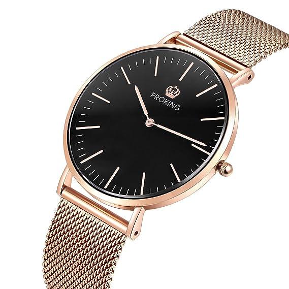 Proking Relojes Mujer De Pulsera Super Slim 6mm Correa De Oro Rosa Reloj De  Resistente Al 6d2e29a747b7
