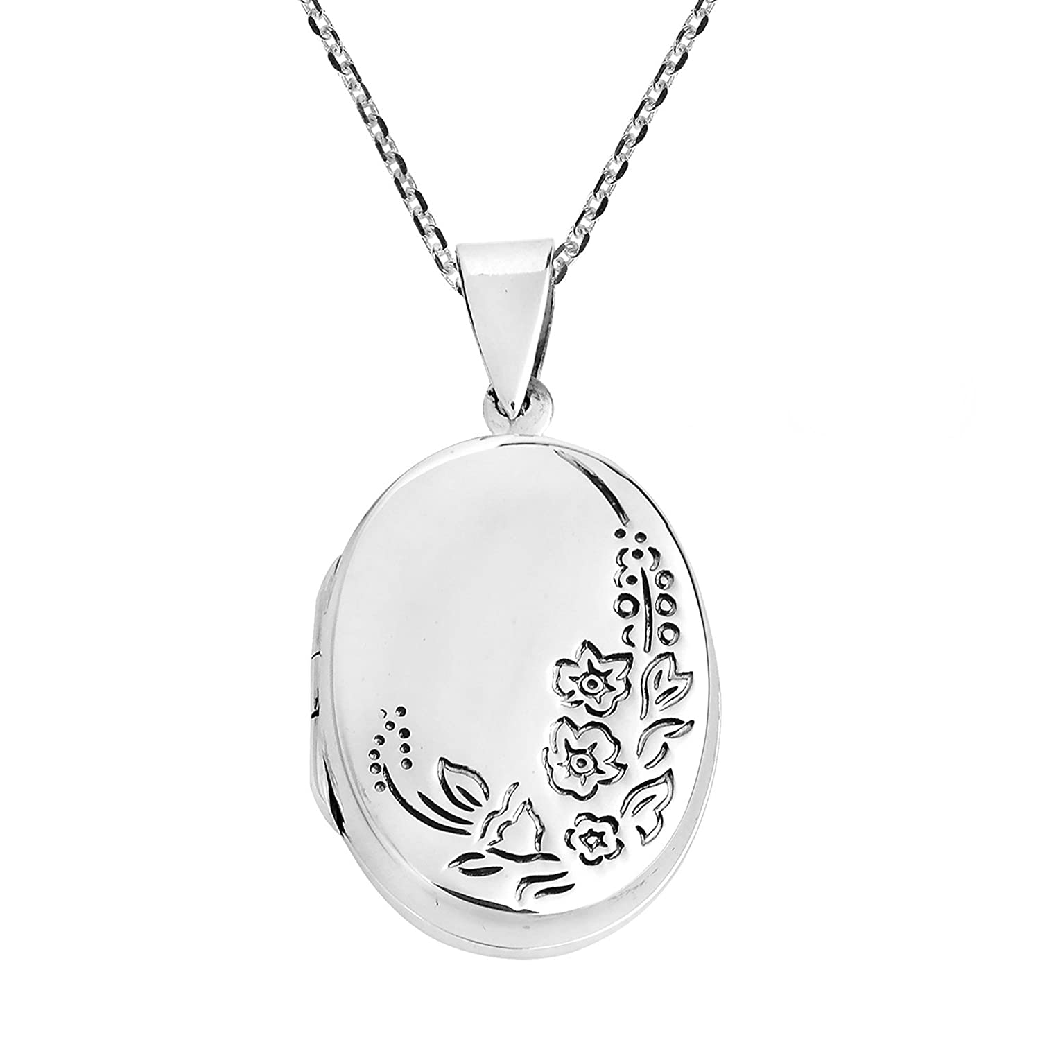 925 Sterling Silver Engravable Flat Oval Locket 3-Sizes