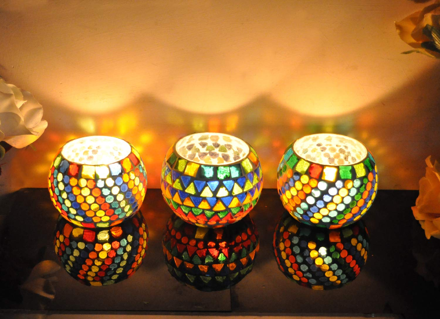 8 x 8 Cm Set of 3 Lal Haveli Ethnic Pink Color Mosaic Glass Tea Light Candle Holders for Room decoration