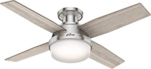 """Hunter Fan Company 50282 Hunter Dempsey Indoor Low Profile Ceiling Fan with LED Light and Remote Control, 44"""", Brushed Nickel"""