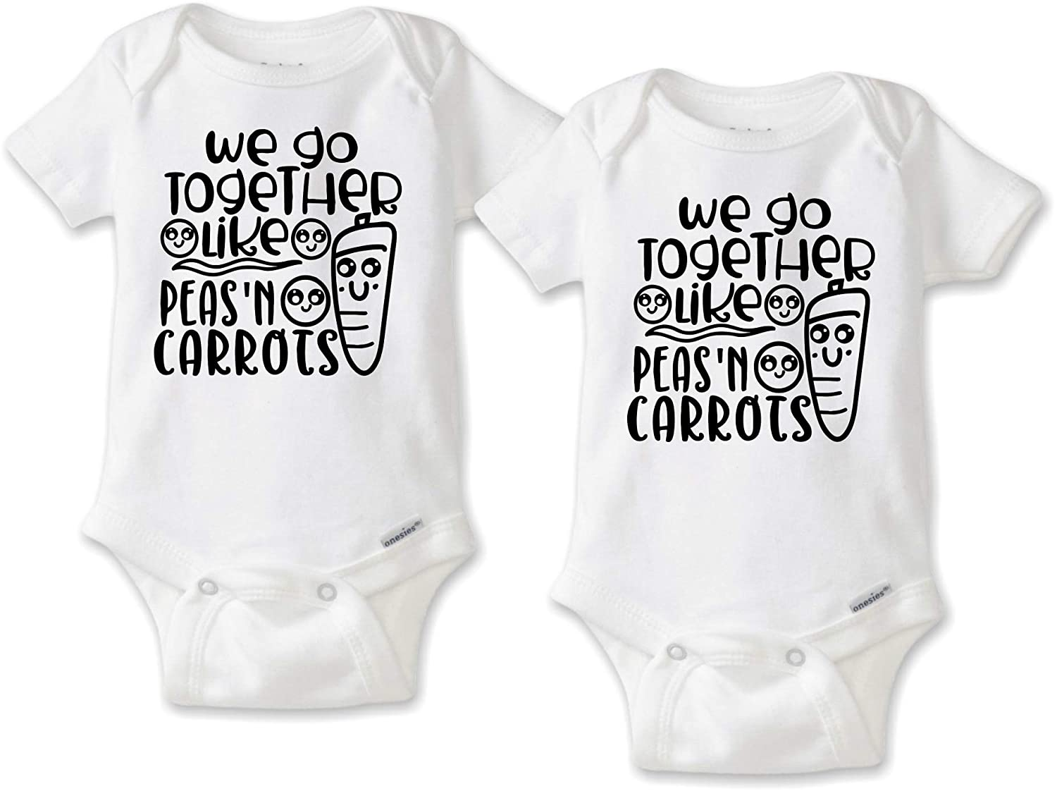 61f590c88 Amazon.com: DoozyDesigns We Go Together Like Peas and Carrots - Twin Baby  Bodysuit or T-Shirt Set: Clothing