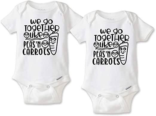 a32ed4c86 We Go Together Like Peas and Carrots - Twin Baby Bodysuit or T-Shirt Set