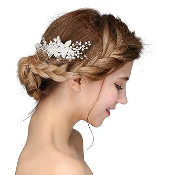 8dca5d62d84ab5 Vintage Braut Gold Haarspangen Haar Kamm Haarband Crystal Strass Haarschmuck  Perlen Hochzeit Strass Perlen Hochzeit Haarteile