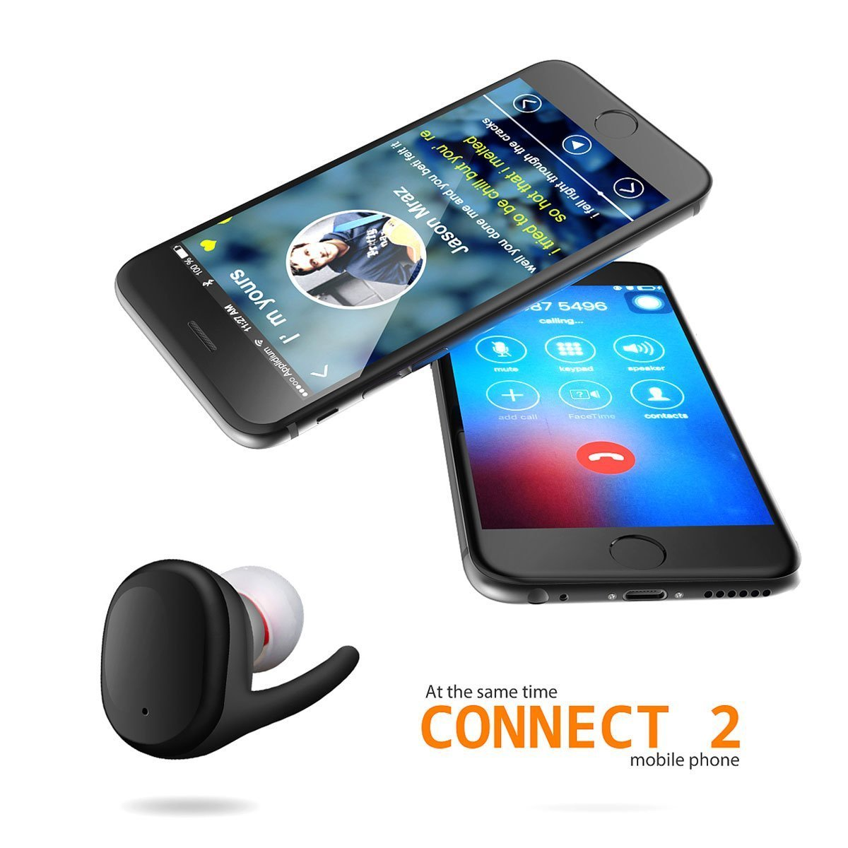Amazon.com: New Waterproof Touch Wireless Bluetooth Ear Earphone Mini Invisible Tws Stereo Headphones (Bright black): Cell Phones & Accessories