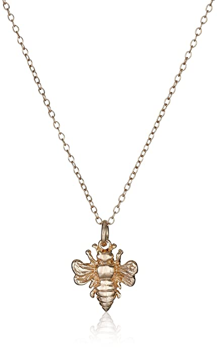 Amazon rose gold plated sterling silver bee pendant necklace rose gold plated sterling silver bee pendant necklace 18quot aloadofball Choice Image