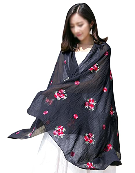 587511108 Monique Women Exotic Style Floral Embroidery Cotton Linen Scarf Spring  Autumn Long Scarf Summer Beach Shawl