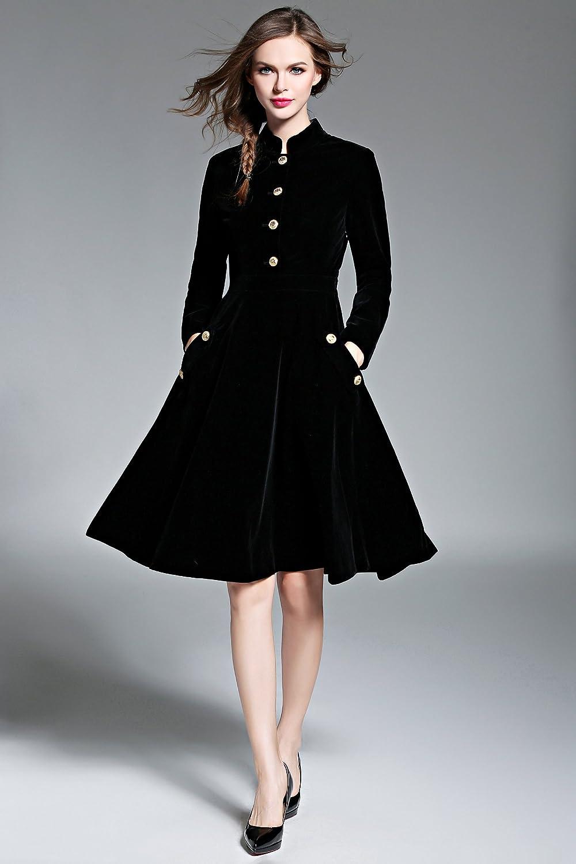 Promozioni di tempo limitato LAI MENG Vintage Donna Manica Lunga velluto Midi Vestito Cocktail Partito Elegante Abito a Pieghe