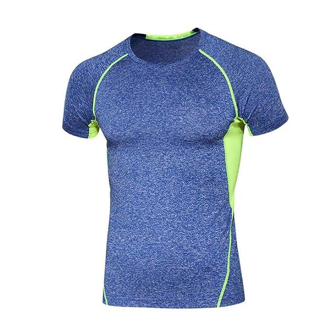 keephen Tops de Los Hombres Entrenamientos de Fitness Secado Rápido Running Camisetas Playeras de Fitness Traje de Mallas Hit Color Solid T-Shirts: ...