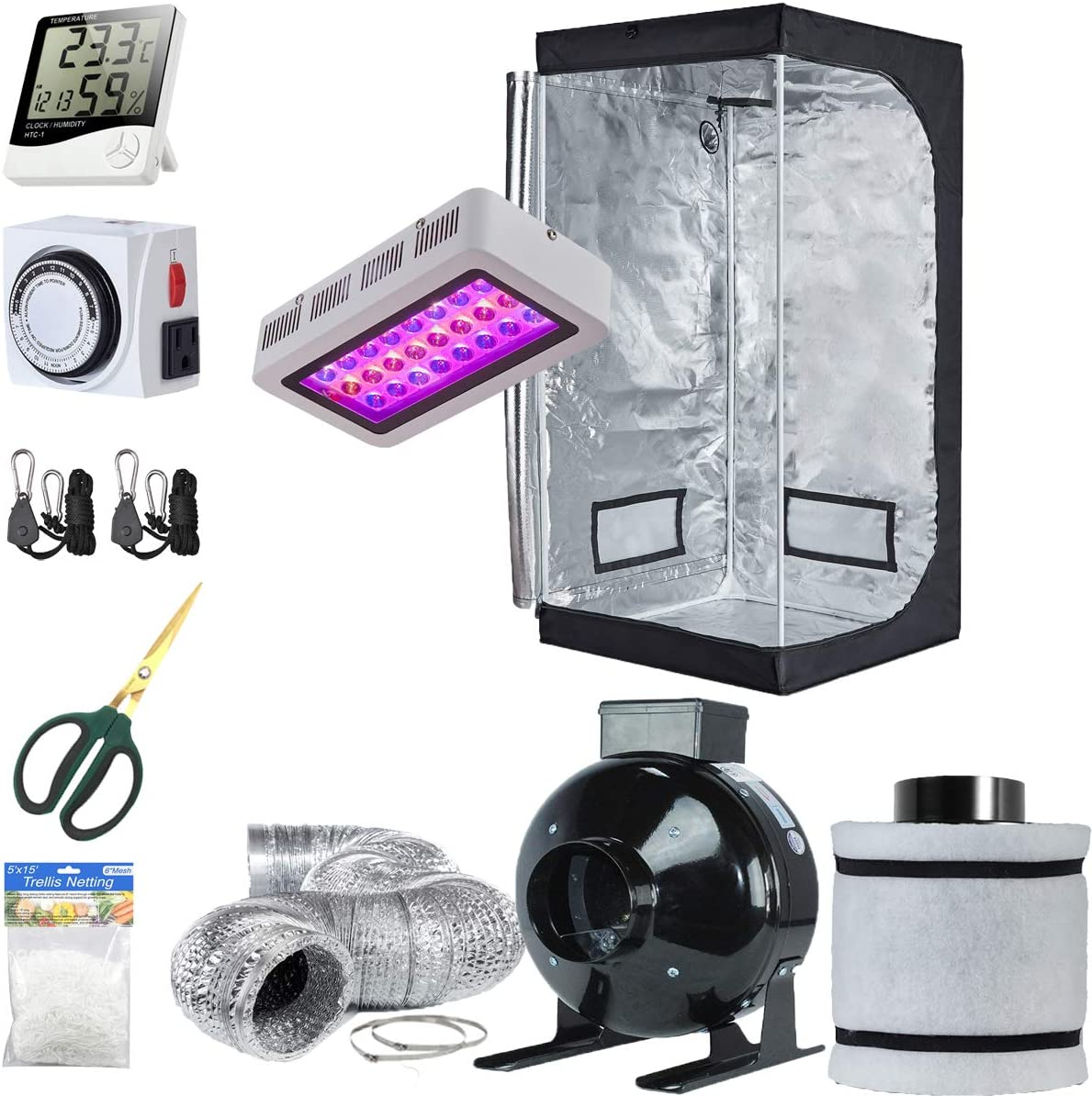 TopoLite Grow Tent Setup Complete Kit LED 300W Grow Light 32 x32 x63 Dark Room 4 Filter Exhaust Kit Hydroponics Indoor Plants Growing System Accessories 32 x32 x63 Kit