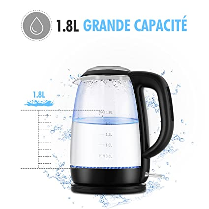 Hervidor eléctrico de vidrio iKich; hervidor de agua de calidad superior; boquilla universal de acero inoxidable 304; control de termostato profesional, ...
