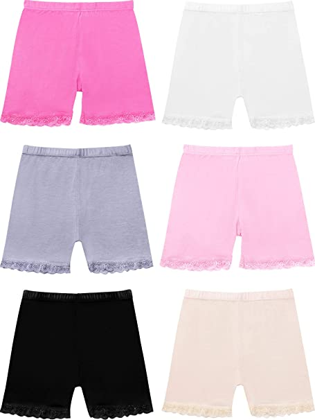 Auranso Girls Dance Shorts Breathable and Safety Dress Short 6 Pack Kids Stretchy Dancing Bike Pants for Girl Size 2-7 Years