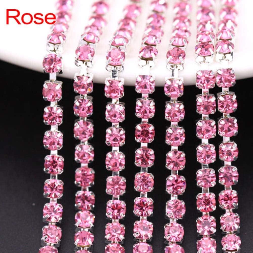 Cadena de Diamantes de imitación de 5 Yardas 21 Colores Crystal Trim Sliver Cup Claw Chain Coser en Vidrio Rhinestones para Ropa 1.5/2 / 2.5/2.8/3 / 4MM, Rose, SS16 (3.6-3.7MM)