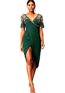 49069beb2fd9 Virgos Lounge Green Julisa Wrap Midi Embellished Cocktail Party Plus Size  Dress 14 to 20