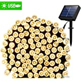 Solar String Lights 72ft 200 LED Fairy Lights, Ambiance lights for Outdoor, Patio, Lawn,Garden, Home, Wedding, Holiday, Christmas Party, Xmas Tree decoration,waterproof/Timer/USB Charge (Warm White)