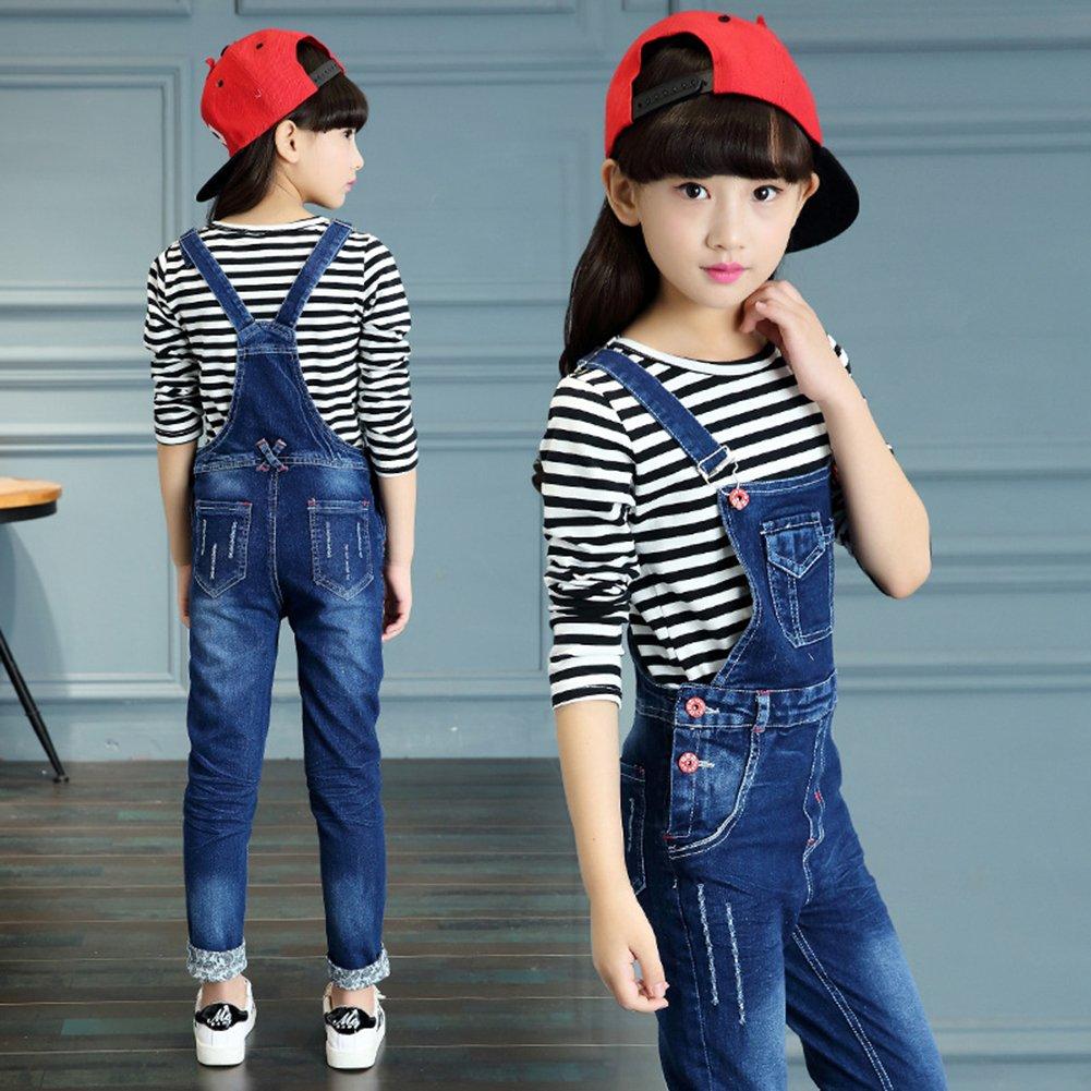 Rosiika Girls Kids Distressed Jumpsuit Jeans Casual Cotton Ripped Denim Bib Overalls 1P