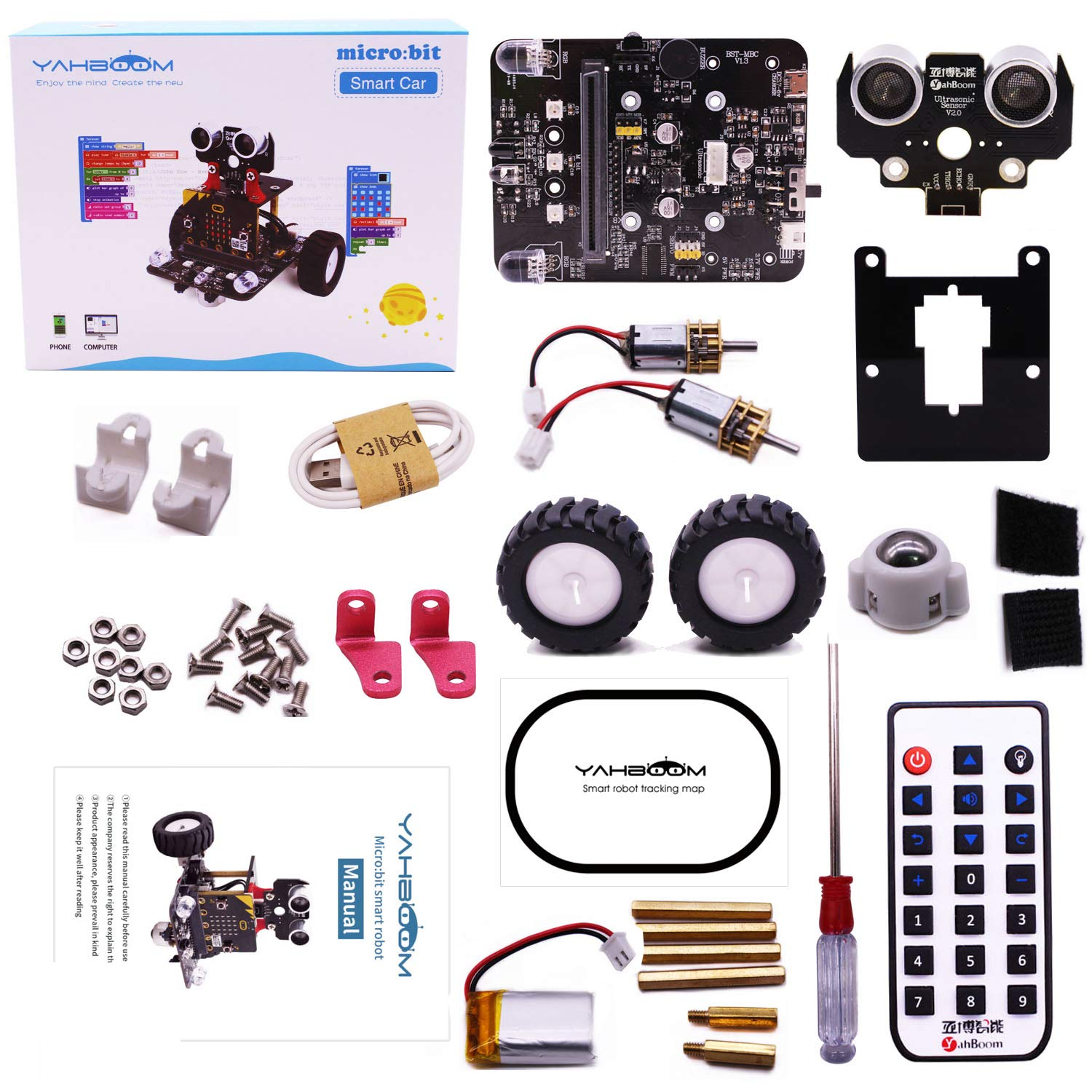 Yahboom Robot Kit for Microbit STEM Education for Kids to Programmable BBC Micro:bit DIY Toy Car with Tutorial Electronic Science for 8+ (Without Micro bit) by Yahboom (Image #6)