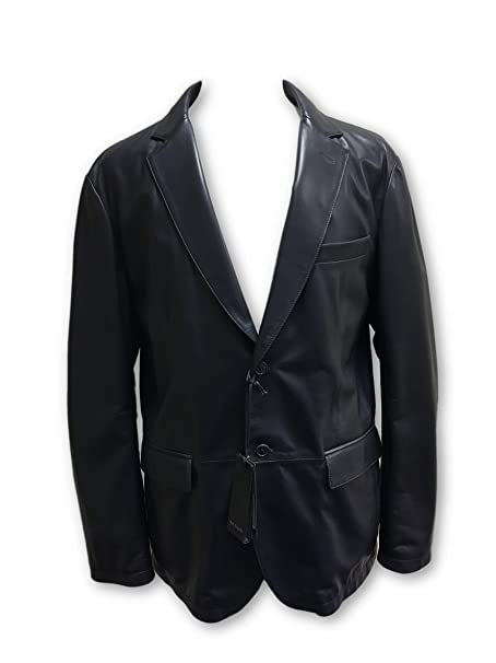 Pal Zileri Leather 2 Button Jacket in Navy Made in Ital Size 46R Cotton: Amazon.es: Ropa y accesorios