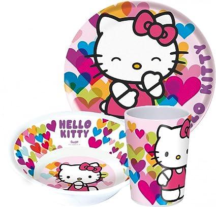 Hello Kitty niños Service con plato, cuenco y taza de melamina