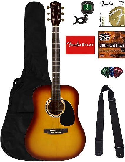 Fender Squier paquete de guitarra acústica con Fender Play: Amazon.es: Instrumentos musicales