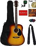 Fender Squier Dreadnought Acoustic Guitar - Sunburst Bundle with Fender Play Online Lessons, Gig Bag, Tuner, Strings…